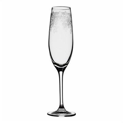 Set van 6 champagne flute van geslepen glas