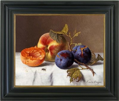 Schilderij stilleven met perzikken en pruimen op canvas doek ingelijst in zwarte lijst