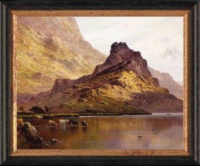 Schilderij met vee in een meer in Schotland
