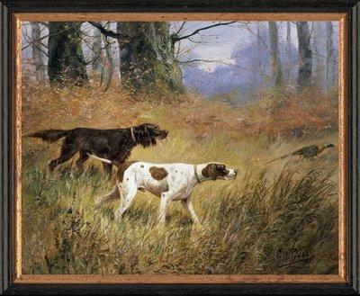 Schilderij canvasdoek met honden in de jacht