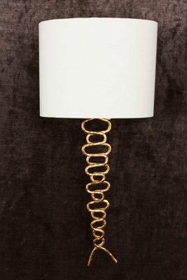wandlamp bladgoud met roomwitte linnen kap