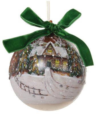 Kerstbal glas met wintertafereel en groene strik (10 cm)
