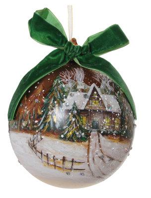 Kerstbal glas met wintertafereel en groene strik (12 cm)