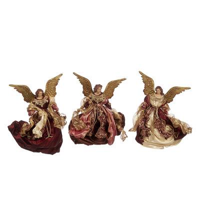 Engel hangend met kleding in bordeaux tint en gouden metalen vleugels