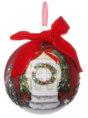Kerstbal glas beschilderd met kerstkrans (12 cm)