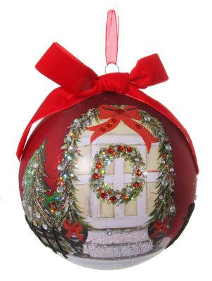 Kerstbal glas beschilderd met kerstkrans (15 cm)