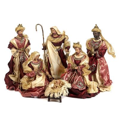 Kerstgroep klassiek in bordeaux stof set van 6 (45,5 cm)