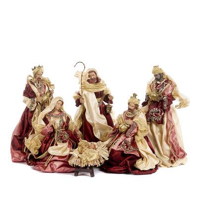 Kerstgroep klassiek in bordeaux stof set van 6 (35,5 cm)