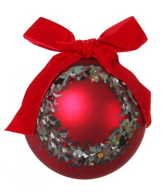 Kerstbal glas in rood met krans beschilderd (12 cm)