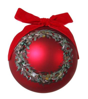 Kerstbal glas in rood met krans beschilderd (15 cm)