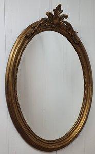 Franse spiegel Ovaal Brocante