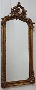 Franse spiegel met kuif Brocante