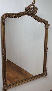 Franse spiegel  antique look met ornamenten  Brocante