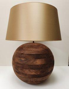 houten bol lampenvoet met satijn handgemaakte kap 1