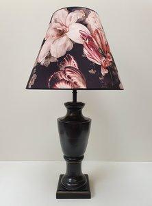 Vintage vaaslamp zwart antiek afwerking met velvet bloemenkap zwart