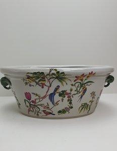 Aardewerk beschilderde ovaal pot motief met bloemen en vogels