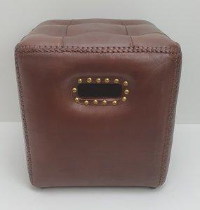 4 kant bruin leren box om als voetenbankje te gebruiken maat L