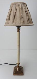 stijlvol smal lampje messing en roomwit gecombineerd incl. geplooide linnen look kapje
