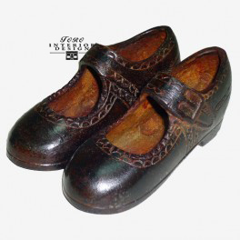 Bruin brons meisjesschoen met gesp