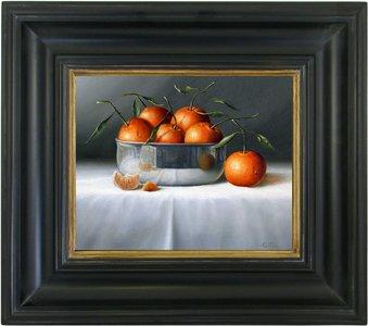 Schilderij stilleven sinaasappels in metalen kom