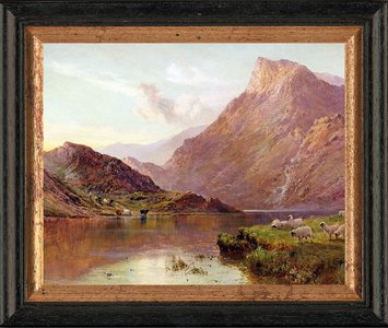 Schilderij met schapen aan een meer in Schotland