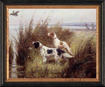 Schilderij canvasdoek met 2 honden in het veld